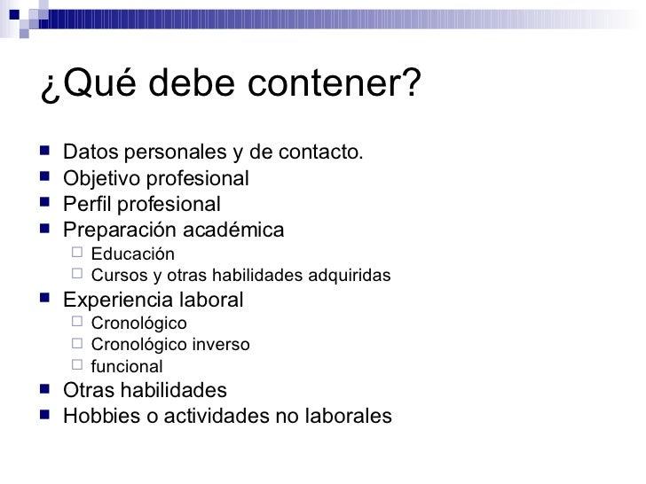 Los Datos Que Debe Llevar Un Curriculum Vitae Essay Writing Format
