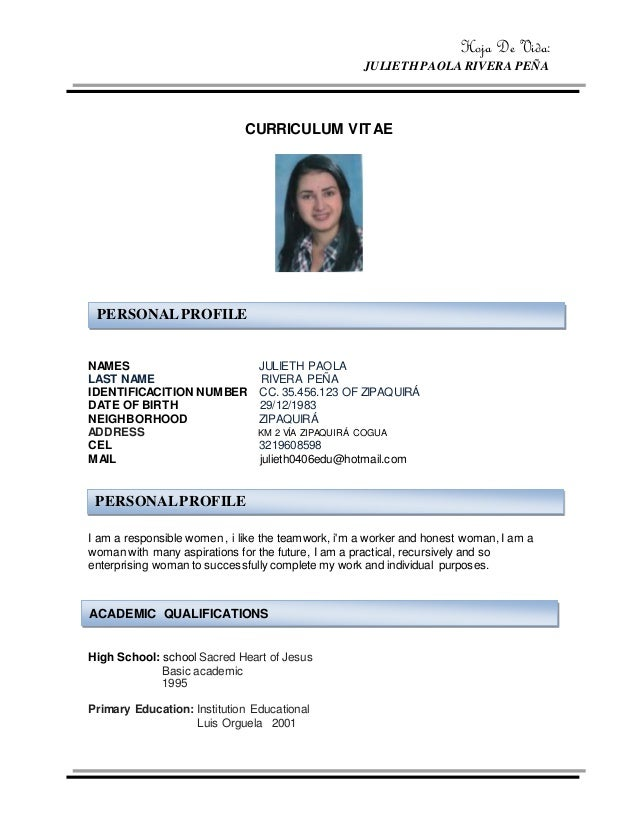 hoja de vida julieth paola rivera pea curriculum vitae names julieth paola last name rivera