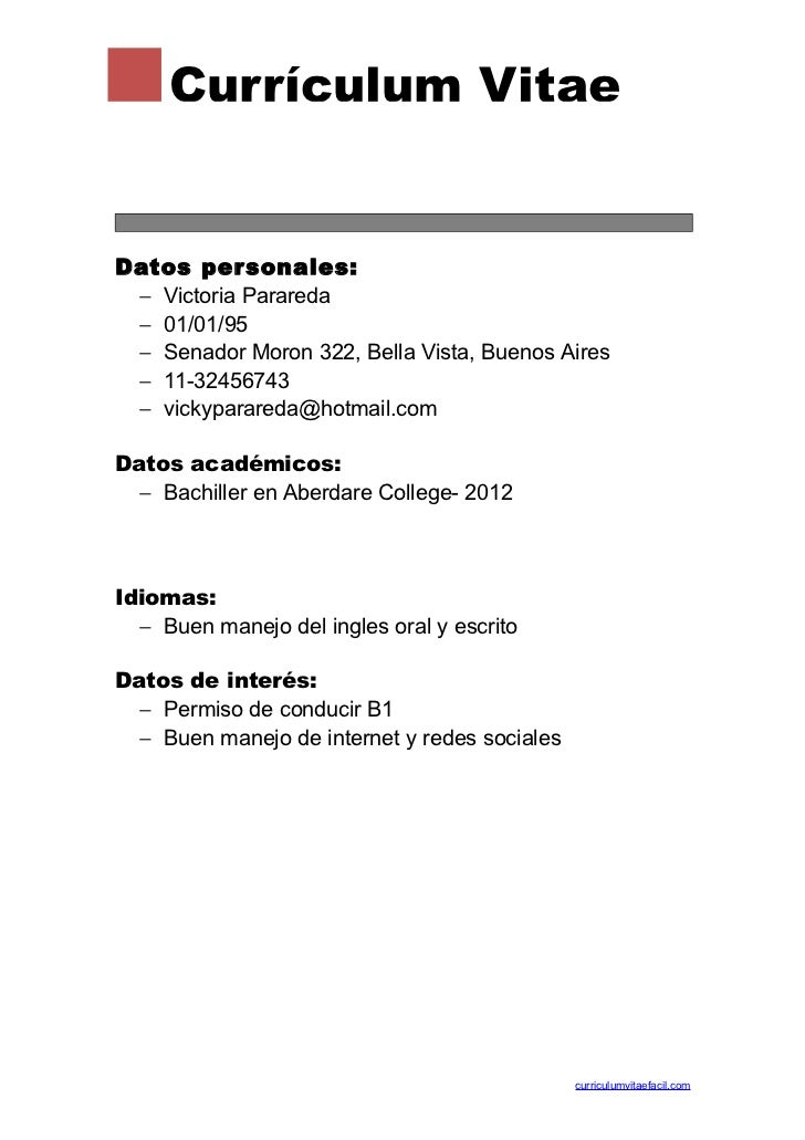 formato de curriculum vitae para rellenar - Juve.cenitdelacabrera.co