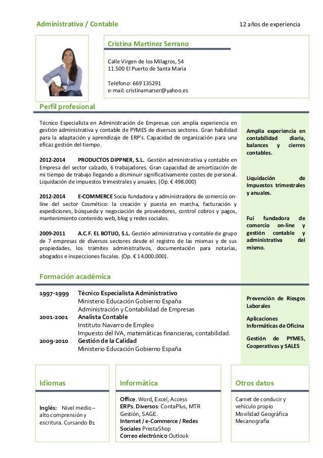Atractivo Currículum Vitae Contable Regalo - Colección De Plantillas ...