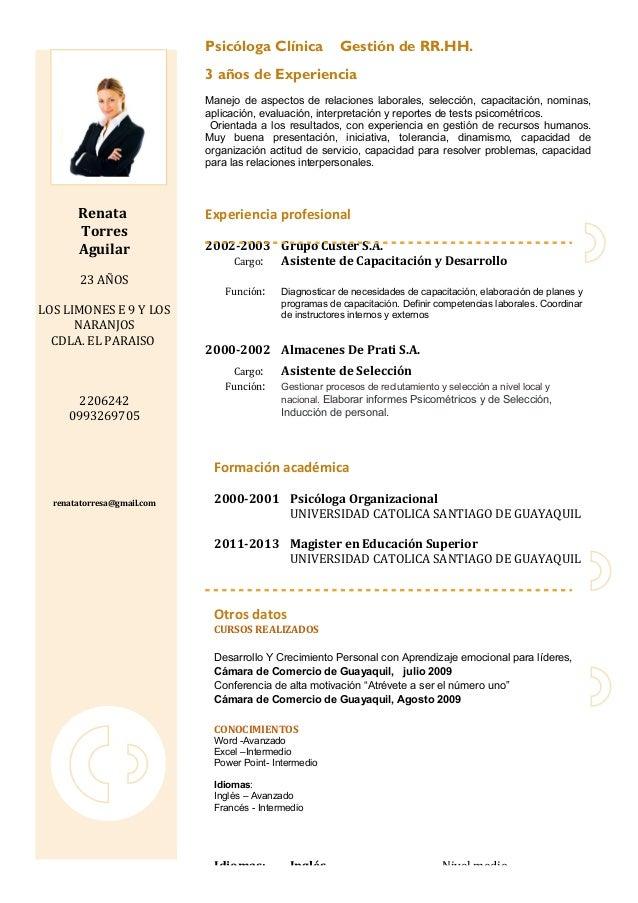 Curriculum Vitae Modelo Feria Laboral Ucsg 2013