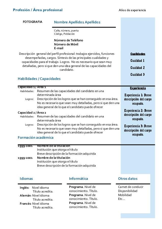 ejemplos de curriculum vitae para tcp