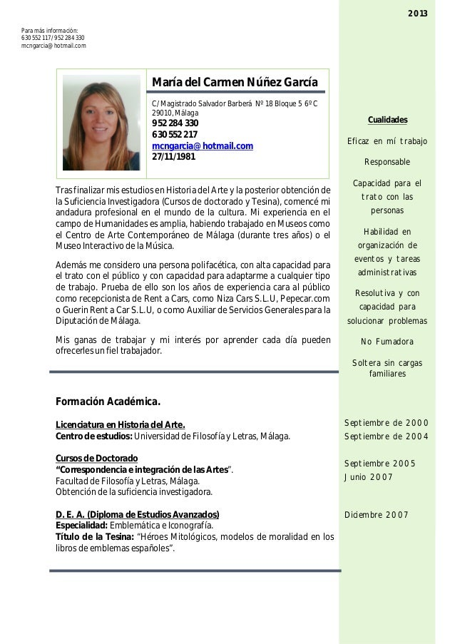 Curriculum vitae general 2013 for Como trabajar de monitor de comedor escolar