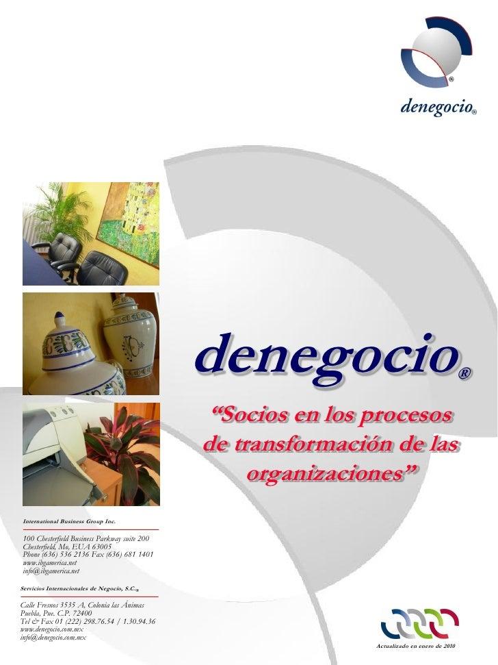 """denegocio                                      ®                                              """"Socios en los procesos     ..."""