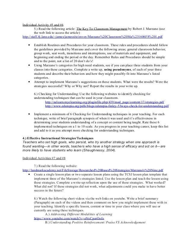 Curriculum Syllabus - Robert marzano lesson plan template