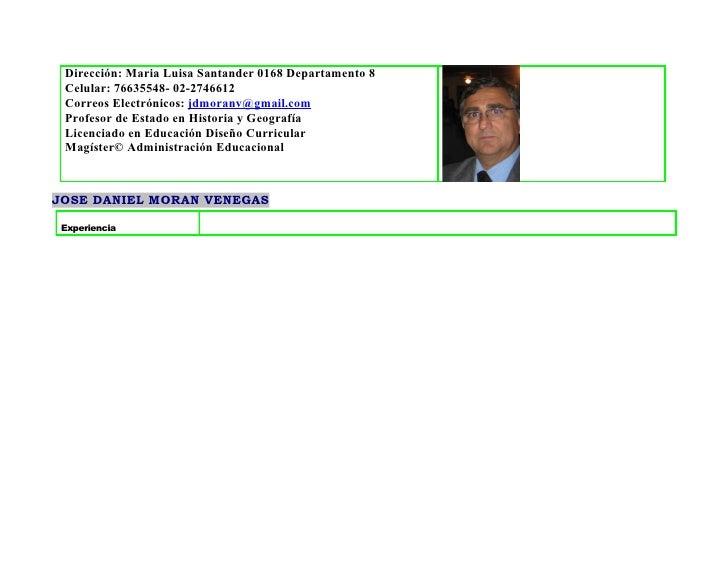 Dirección: Maria Luisa Santander 0168 Departamento 8  Celular: 76635548- 02-2746612  Correos Electrónicos: jdmoranv@gmail....