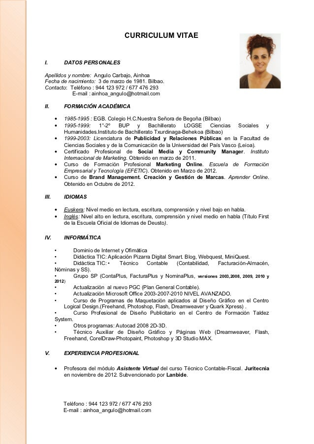 Único Recurso De Lectura Curriculum Vitae Imágenes - Colección De ...