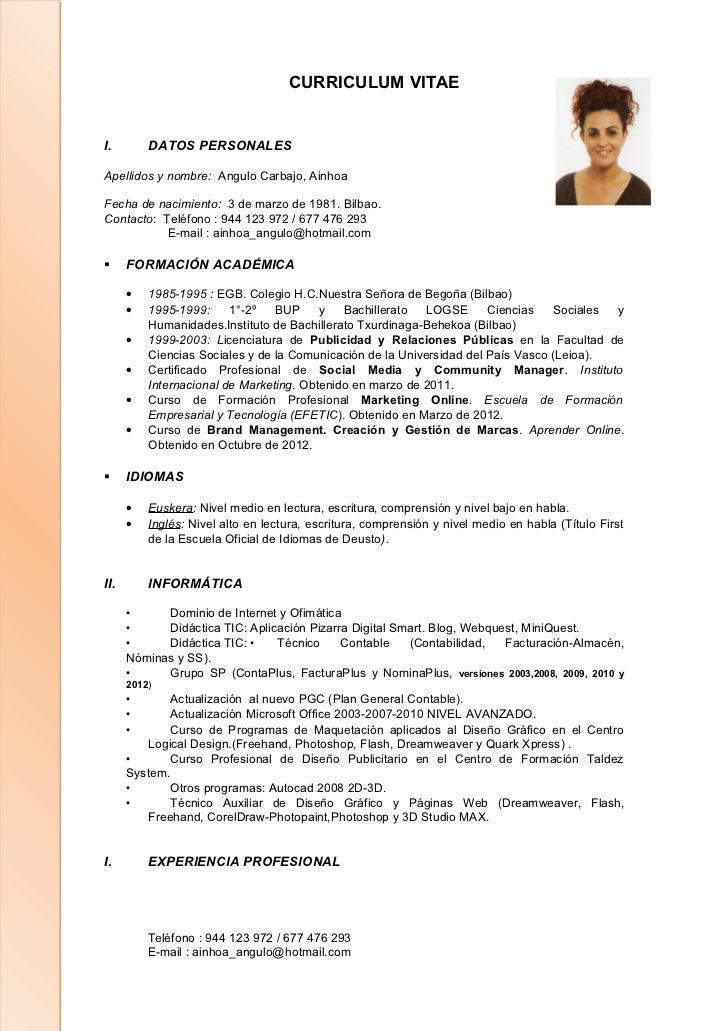curriculum vitae abreviado y actualizado