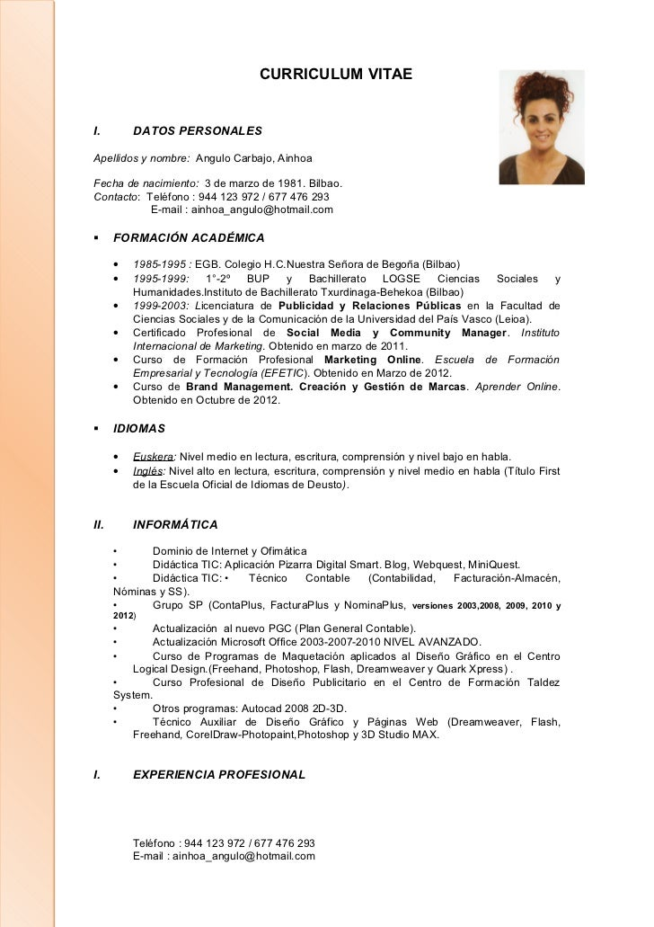 Curriculum Ainhoa Actualizado A 10 10 2012