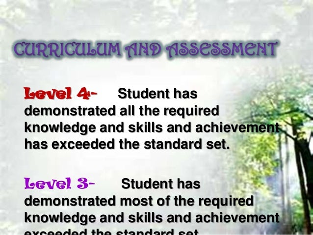 Level 4- Student has demonstrated all the required knowledge and skills and achievement has exceeded the standard set.  Le...