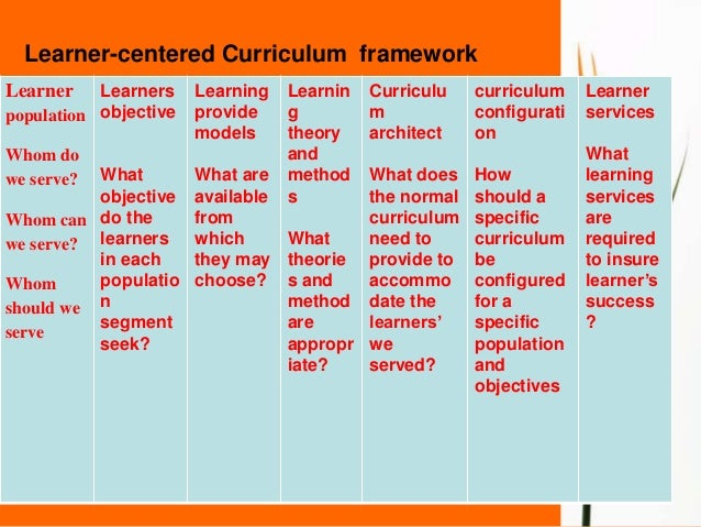Learner centered curriculum