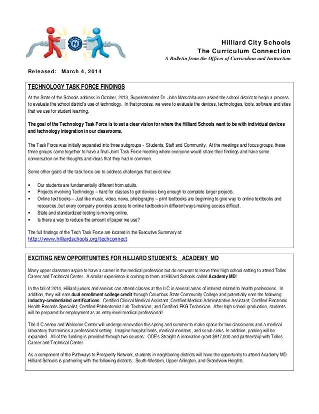 Hilliard City Schools  The Curriculum Connection  A Bulletin from the Offices of Curriculum and Instruction  Released: Mar...