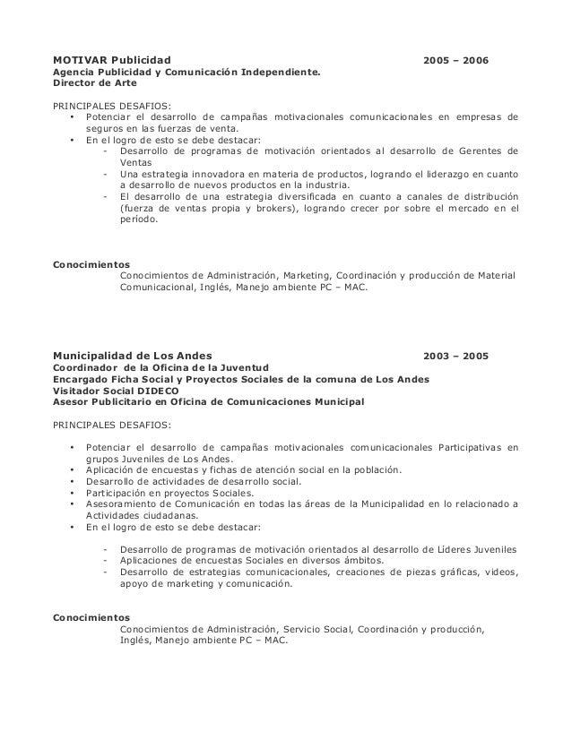 Curriculum con trabajos