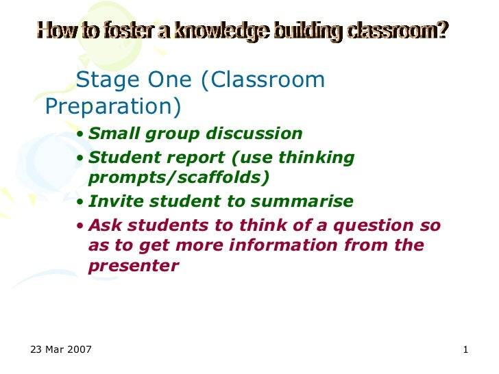 Stage One (Classroom  Preparation)        • Small group discussion        • Student report (use thinking          prompts/...