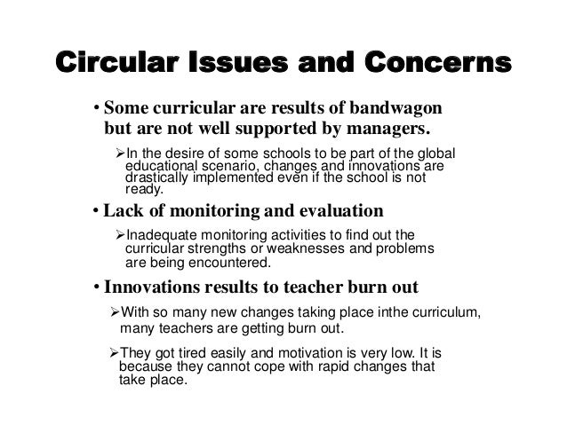 Curriculum Development Curriculum Issues Concerns And Responses