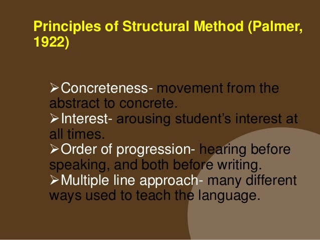 Structural Method (Palmer, 1922) The content and syllabus underlying. Determining the vocabulary and grammatical content...