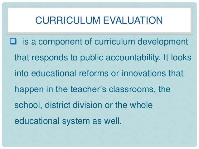 Chapter 4: Evaluating the curriculum