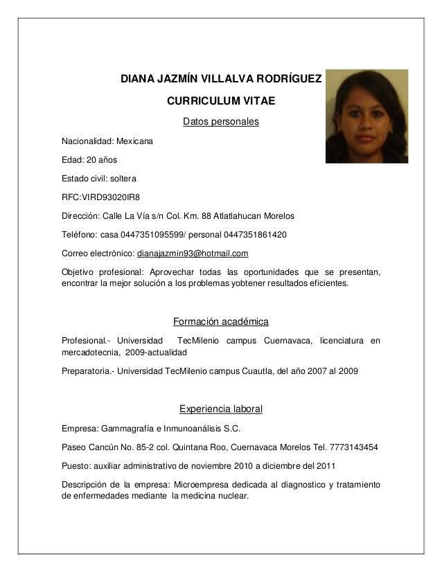Curriculum Diana Jazmin Villalva Rodriguez