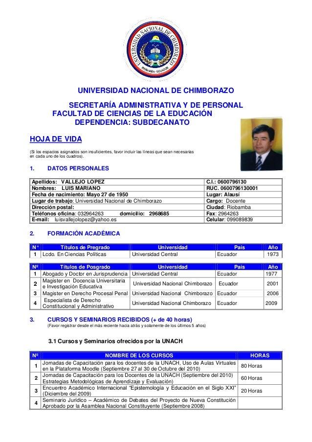 UNIVERSIDAD NACIONAL DE CHIMBORAZO SECRETARÍA ADMINISTRATIVA Y DE PERSONAL FACULTAD DE CIENCIAS DE LA EDUCACIÓN DEPENDENCI...