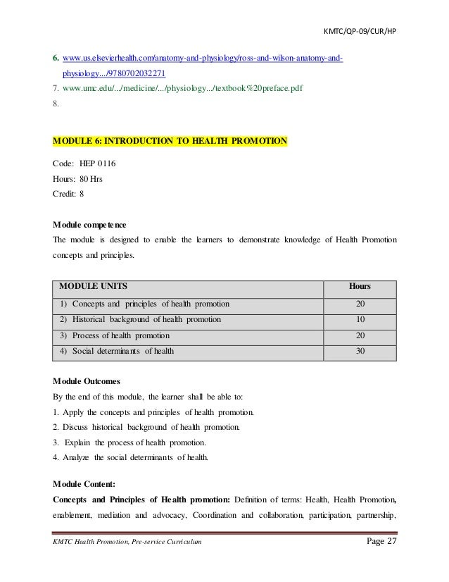 Curriculum draft diploma health promotion 27 fandeluxe Images