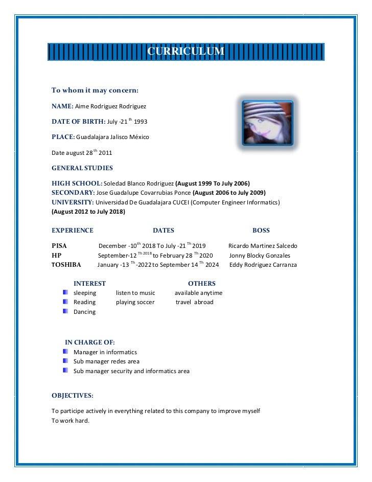 Curriculum Vitae Documentado En Ingles Curriculum De Emma