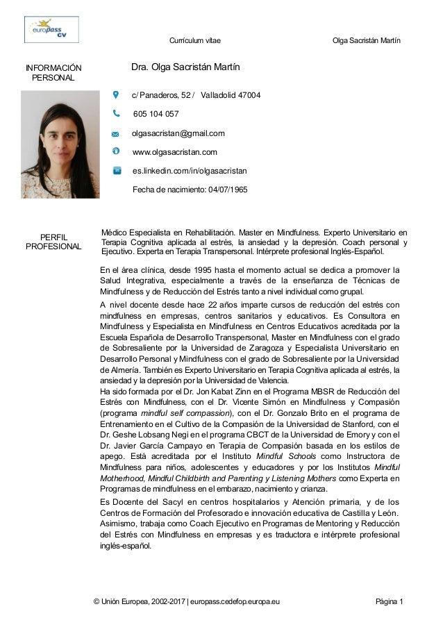 curriculum europass dra  olga sacristan mayo 2017