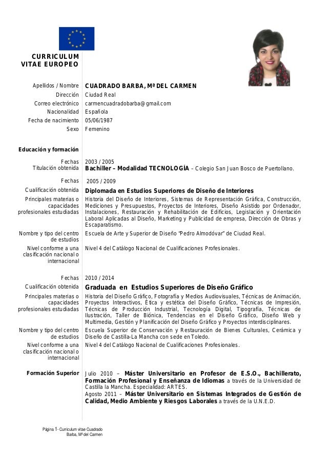 Curriculum Vitae Europeo De Mari Carmen Cuadrado Barba. Resume Summary Examples Criminal Justice. Cover Letter Boilermaker Trainee. Resume Now Free Download. Sample Letter Of Resignation From Volunteer Board. Resume Writing Services Veterans. Application For Employment Certificate New York. Resume Buzzwords. Curriculum Vitae Concepto Y Ejemplo