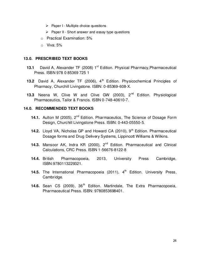 Curriculum For Pharmacy Degree At Unza 2013