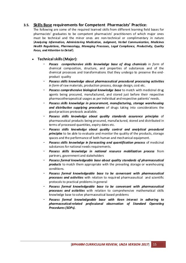Curriculum for pharmacy degree at unza 2017