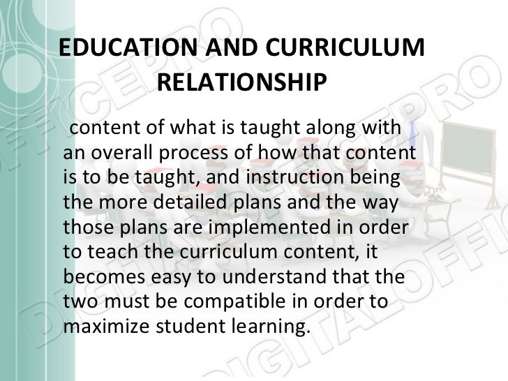 Image result for What is the relationship between education and curriculum?