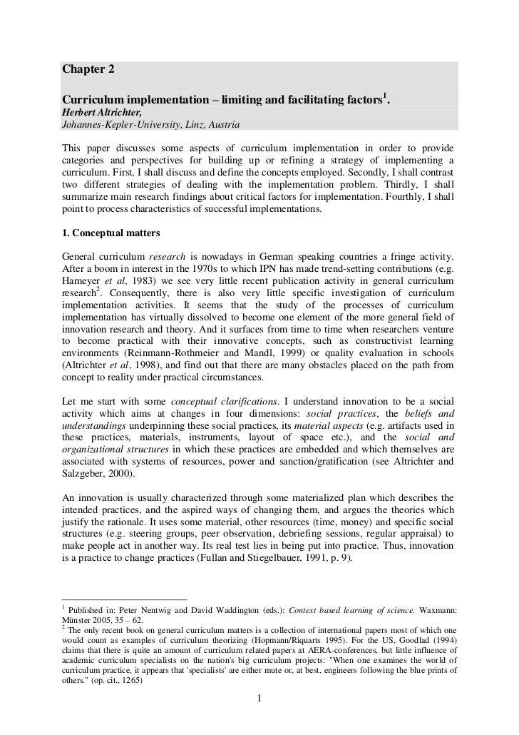 Chapter 2Curriculum implementation – limiting and facilitating factors1.Herbert Altrichter,Johannes-Kepler-University, Lin...
