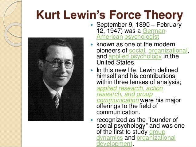 field theory by kurt levin Field theory is a more or less coherent approach in the social sciences, although the main directions of field theory have not been systematically integrated the essence of field theory in.