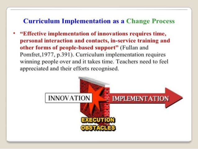 effective implementation of the curriculum
