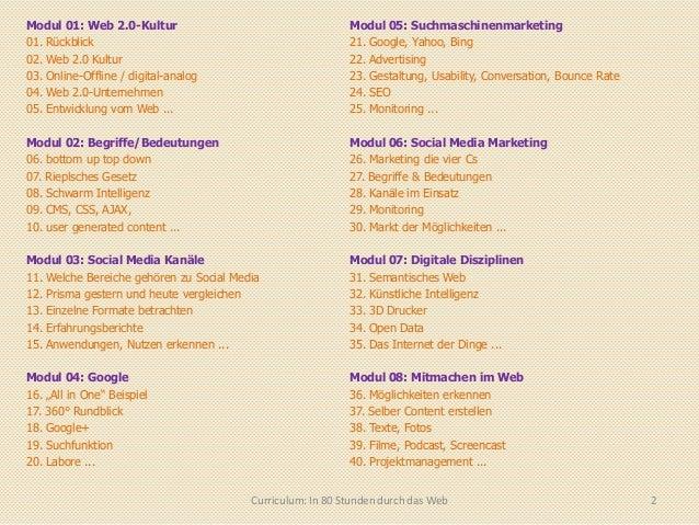 Curriculum in 80 stunden durch das web Slide 2