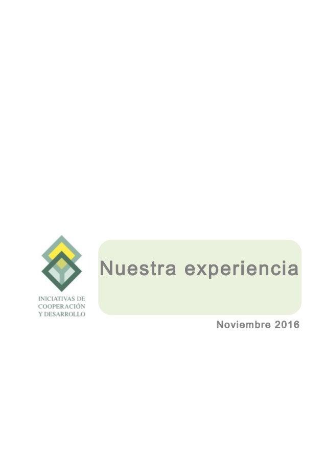 Nuestra experiencia Noviembre 2016