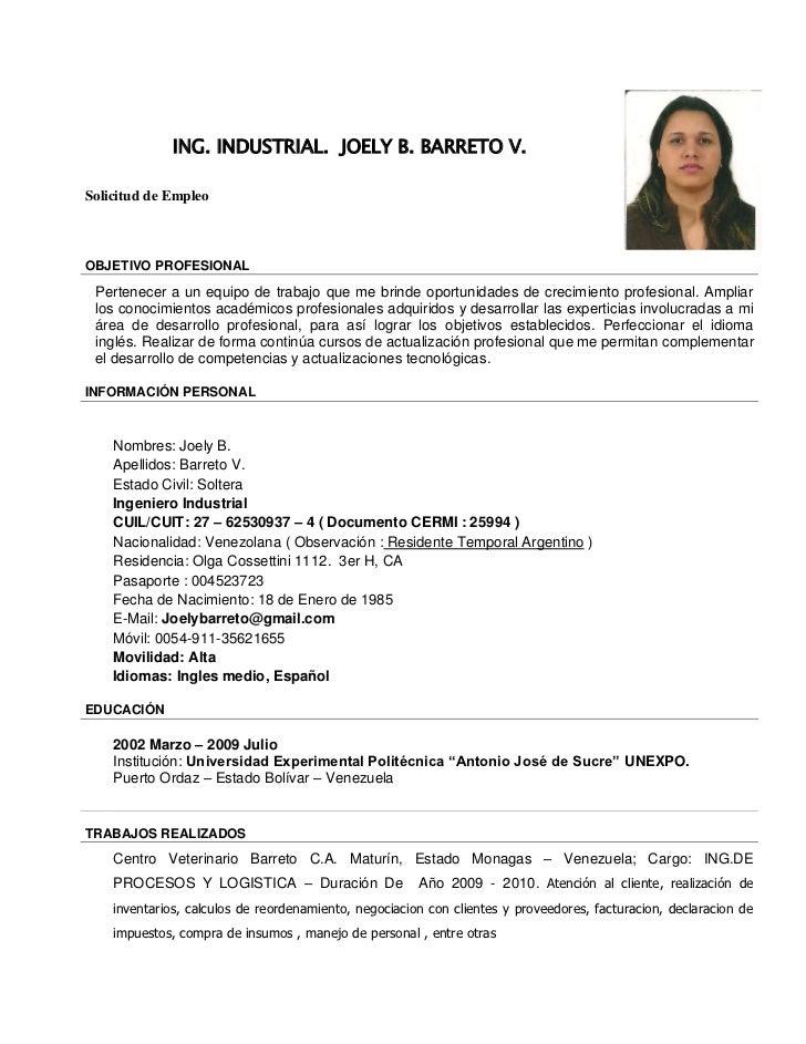 Curriculum Vitae De Un Ingeniero Industrial En Ingles