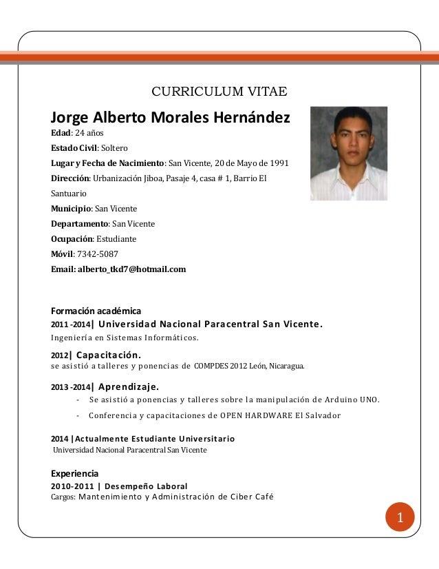 formato de curriculum vitae salvadoreño