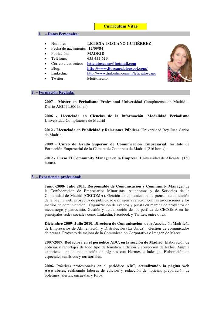curriculum leticia toscano