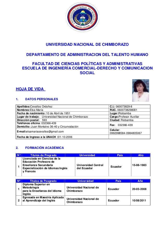 UNIVERSIDAD NACIONAL DE CHIMBORAZO DEPARTAMENTO DE ADMINISTRACION DEL TALENTO HUMANO FACULTAD DE CIENCIAS POLÍTICAS Y ADMI...