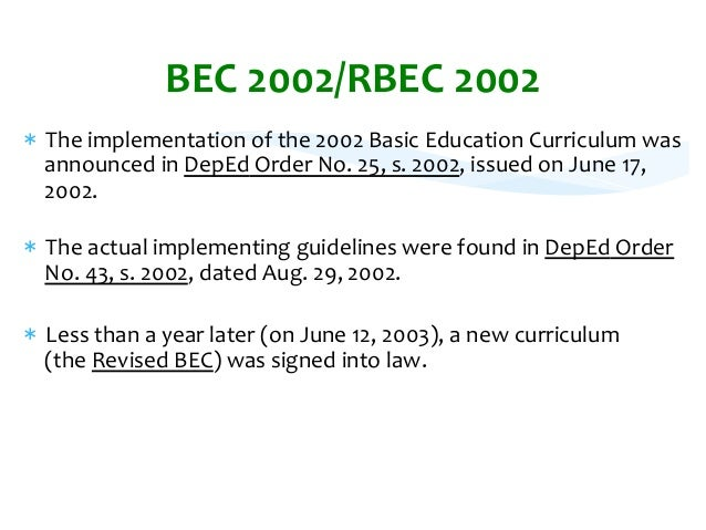 an evaluation of the revised basic education curriculum rbec at the elementary level Science and technology educationand technology education in the philippines curriculum development at the basic education level isdevelopment at the basic education level is basic education the objectives of elementary and secondary school science.