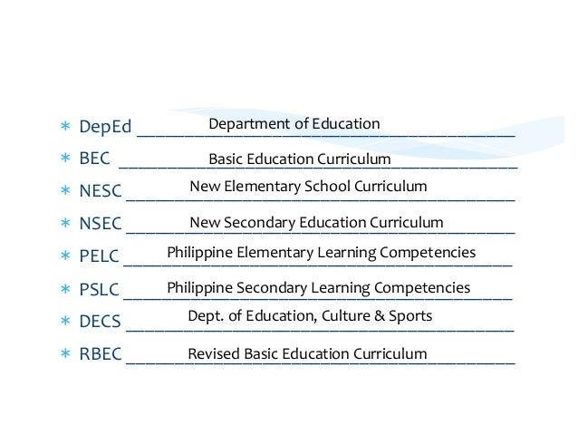 Curriculum Models Philippines Curriculum Models