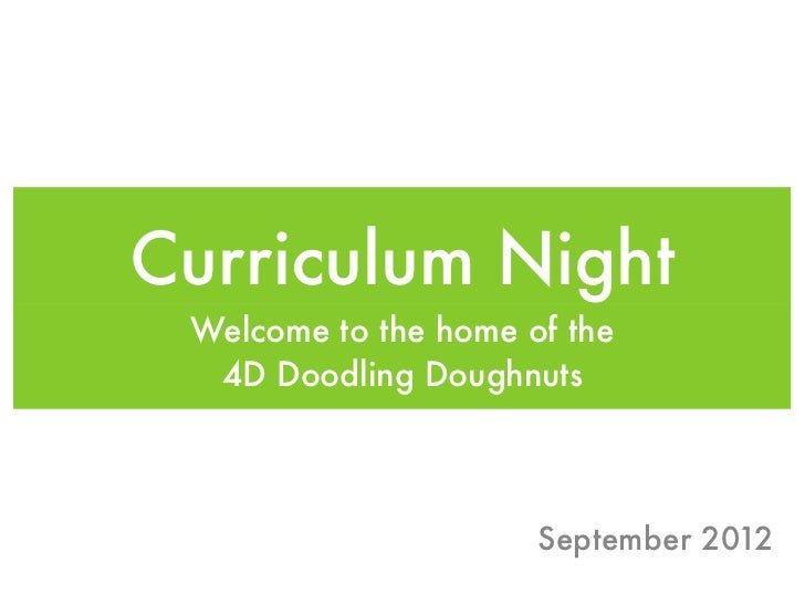Curriculum Night Welcome to the home of the  4D Doodling Doughnuts                      September 2012