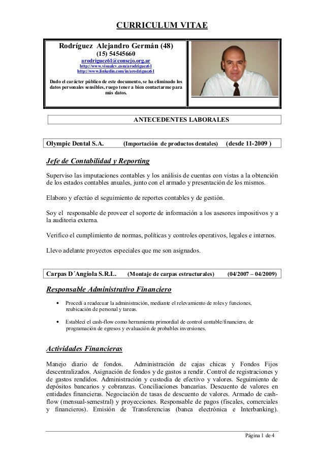 CURRICULUM VITAE Página 1 de 4 Rodríguez Alejandro Germán (48) (15) 54545660 arodriguez61@consejo.org.ar http://www.visual...