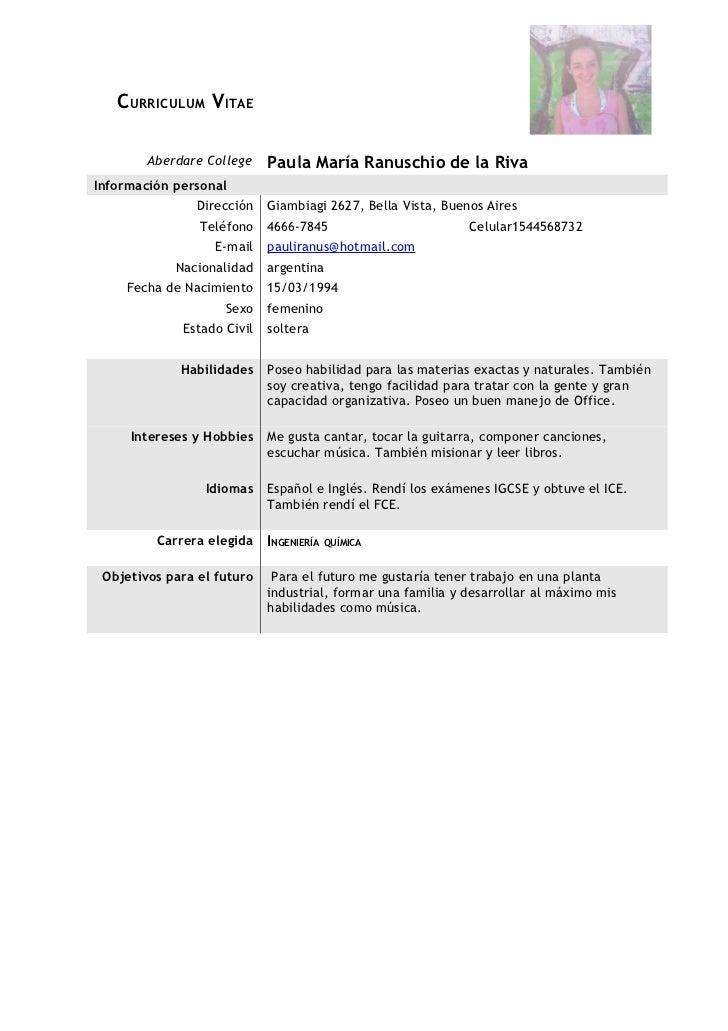 C URRICULUM V ITAE        Aberdare College    Paula María Ranuschio de la RivaInformación personal                Direcció...