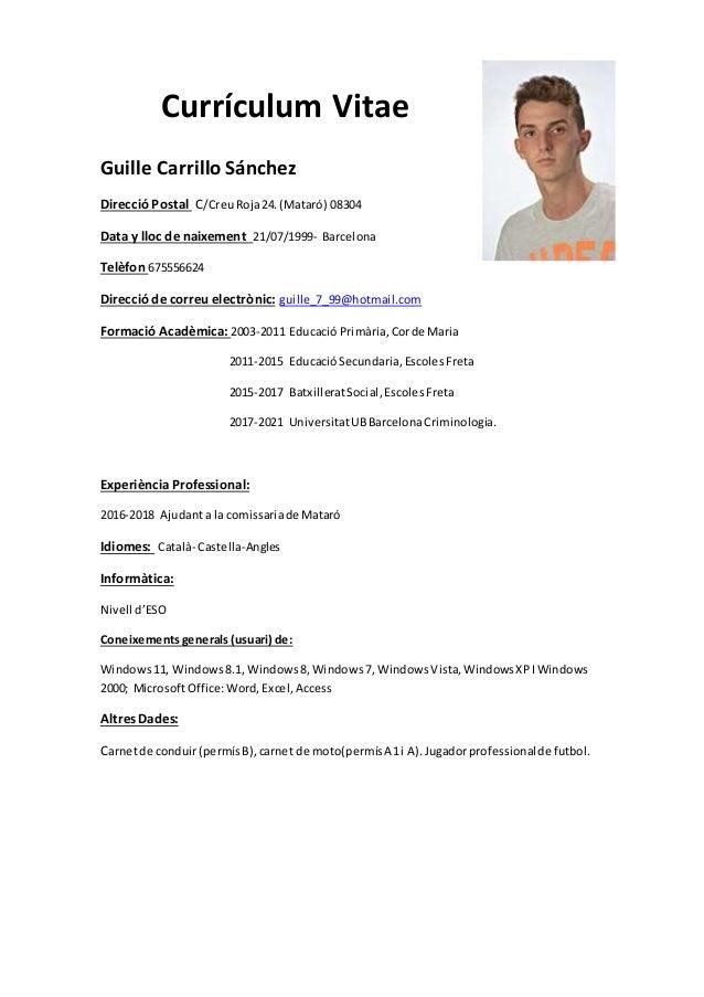 plantilla curriculum vitae catala word 2003