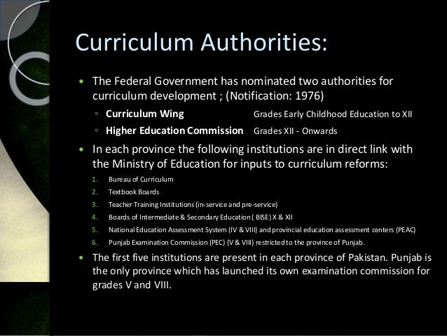 curriculum reforms in pakistan