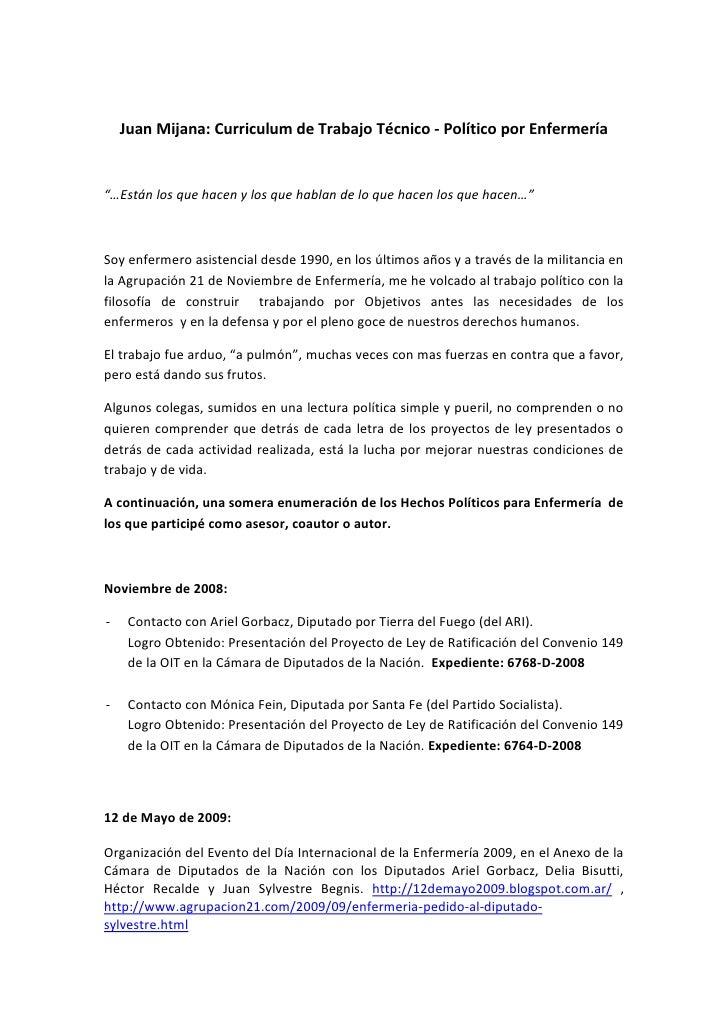 """Juan Mijana: Curriculum de Trabajo Técnico - Político por Enfermería""""…Están los que hacen y los que hablan de lo que hacen..."""