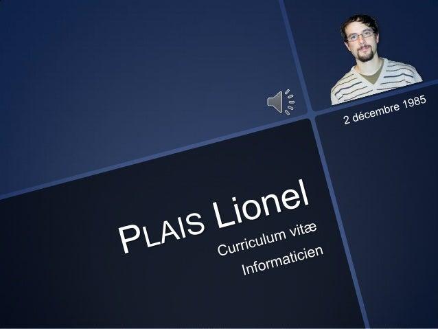 Curriculum vitæ - PLAIS Lionel