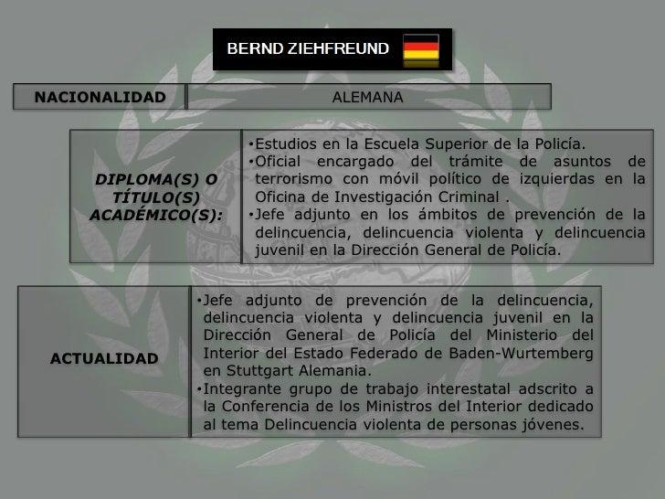 NACIONALIDAD<br />ALEMANA<br />DIPLOMA(S) O TÍTULO(S) ACADÉMICO(S):<br /><ul><li>Estudios en la Escuela Superior de la Pol...