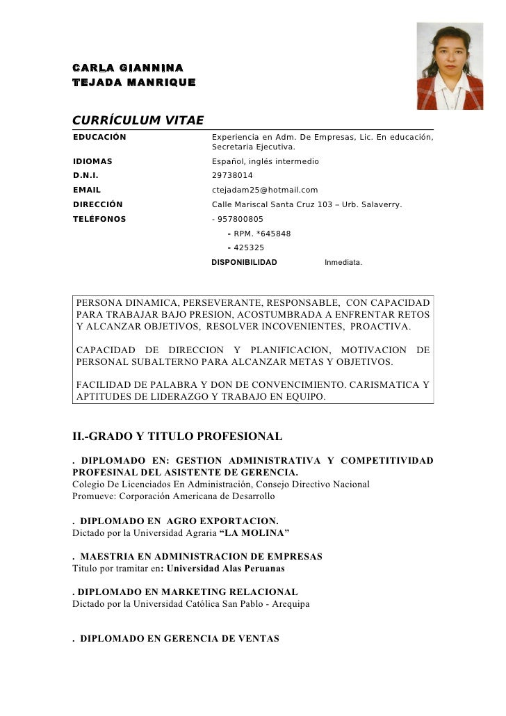 Modelo Curriculum Vitae 2014 Peru Tslnigeria Com